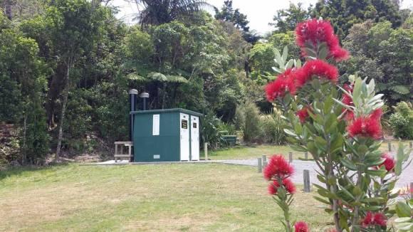 The toilets. Lake Okareka campsite, Rotorua. Photo: Elizabeth Marenzi.