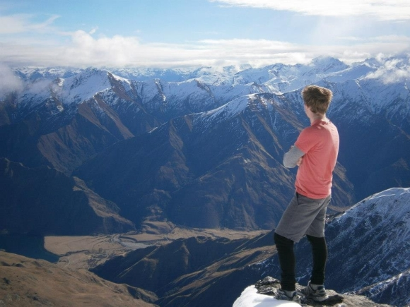 Daniel looking across mountains in the South Island.