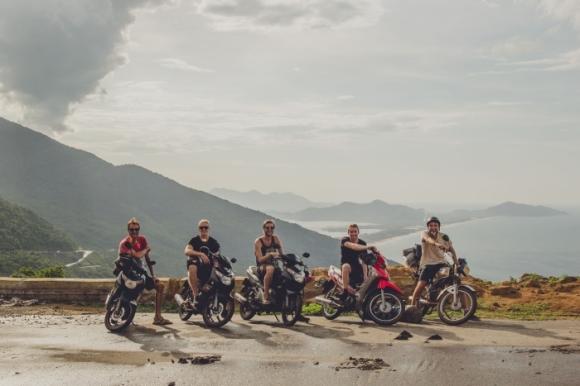 Daniel and friends atop the High-Van pass in Vietnam.