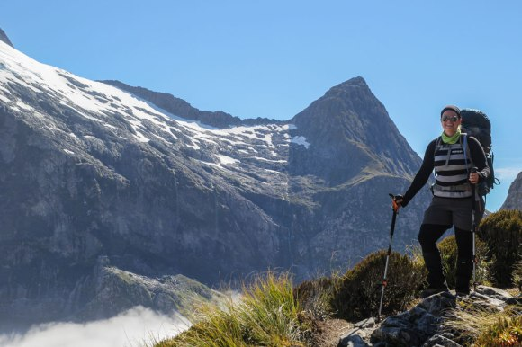 Liz Carlson on the Milford Track.  Photo: Elizabeth Carlson ©