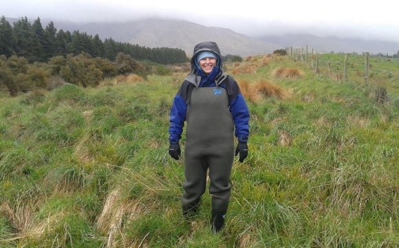 Jane rugged up for field work in the deep south.