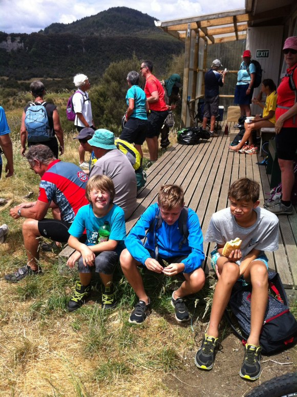 At Oamaru Hut: Marco Jones, Jude Carpenter and Javier Browne take a well earned break from biking.