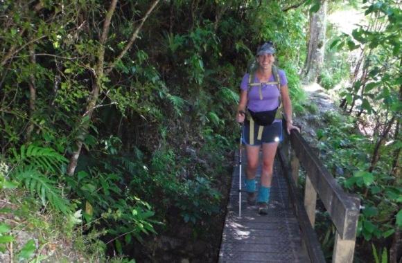 Nina Mercer tramping to Roaring Stag Hut.