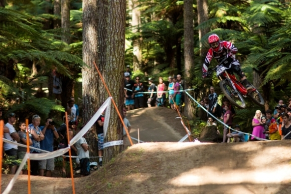 Mountain biking jump. Photo: John Colthorpe/Eivomedia.
