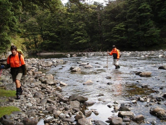 Heather conducting weed surveillance in the Rangitikei River.