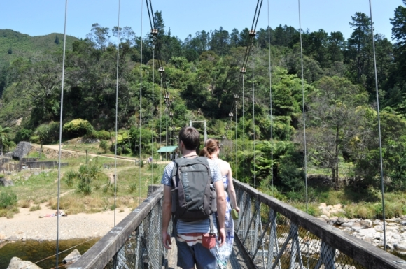 Crossing the bridge at Karangahake Gorge. Photo: Rebecca Nuttall.