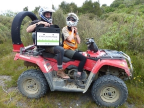 Kiwi on the quad-bike. Photo: Sarah Ridsdale.