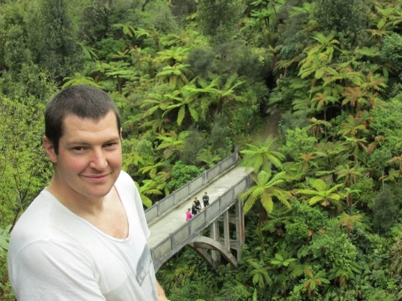 Chris Rendall at the Bridge to Nowhere on the Whanganui River.