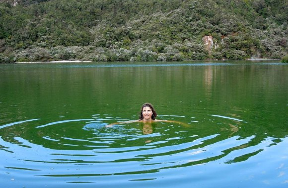 Sally up to her neck in water at Lake Rotowhero.