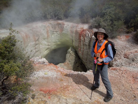 Sally Jackson on a field trip to Rotokawa Geothermal Reserve.