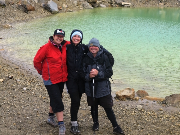Deb Atkinson, Tash Hayward and Karl Schroeder on the Tongariro Crossing.
