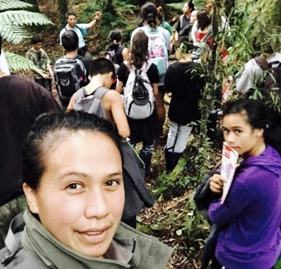 Atamaria with students in Whirinaki Te Pua a Tane.