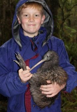 Holding a kiwi before being released. Photo: Nina Mercer.