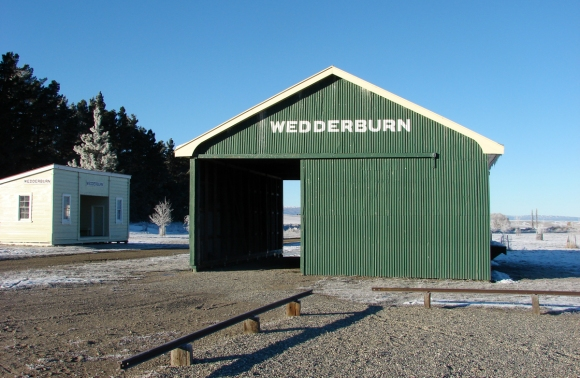 Wedderburn Station buildings in winter. Photo: DOC.