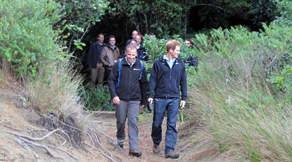 Prince Harry and Brent Beaven at Sydney Cove, Ulva Island.