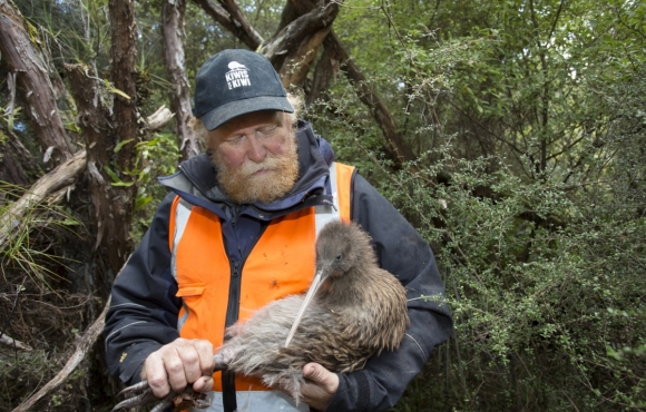 Hugh Robertson holding a kiwi. Photo © Sabine Bernert.