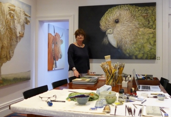 Janet Luxton with th Kākāpō she is donating to Kākāpō Recovery.