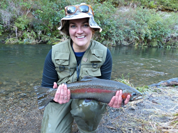 Evelien with her six pound rainbow trout.