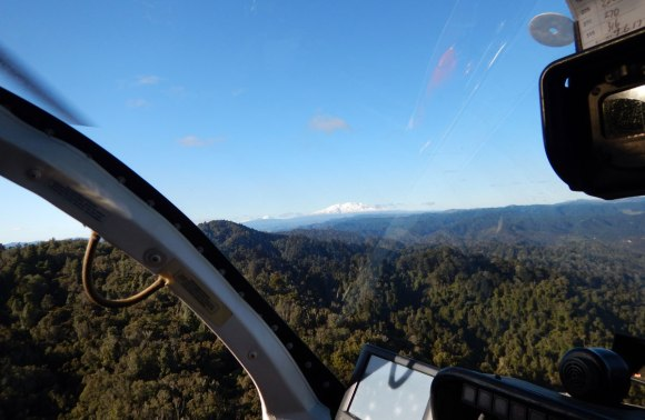 View of Mount Ruapehu from the helicopter.