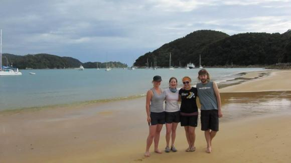 Alice and friends on a beach at Anchorage in Abel Tasman National Park.