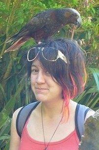Alice Phillips encountering a kākā at Zealandia.