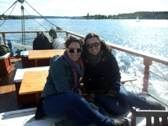 Alice and her friend Julie on a boat in Oslo, Norway.