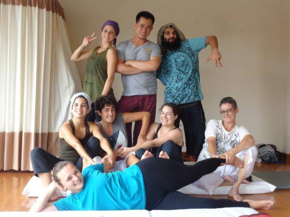 Alice with other students of a Thai Yoga Massage course in Chiang Mai.
