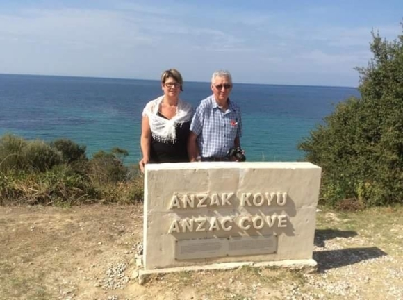 Diane Oliver and her partner at Anzac Cove.