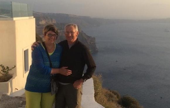 Diane Oliver and her partner in Santorini.