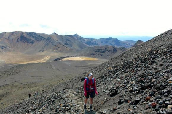 Amanda climbing Mount Ngaruhoe.