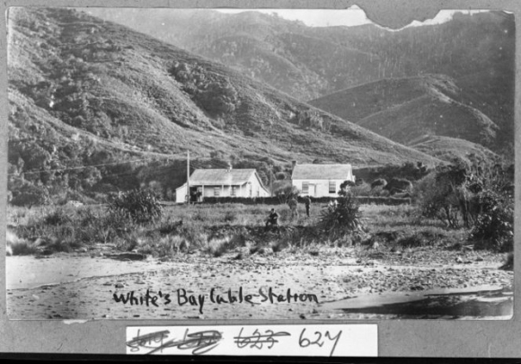 Whites Bay cable station, Cloudy Bay, Marlborough. CREDIT: Making New Zealand: Negatives and prints from the Making New Zealand Centennial collection. Ref: MNZ-0627-1/4-F. Alexander Turnbull Library, Wellington, New Zealand. http://natlib.govt.nz/records/23123675