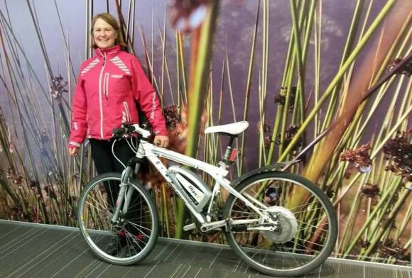 Alicia Warren with her BionX electric-assist motor fitted mountain bike.