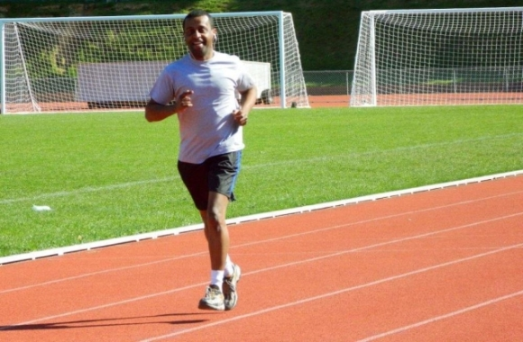 Daniel Letta jogging at Newtown Park Stadium.