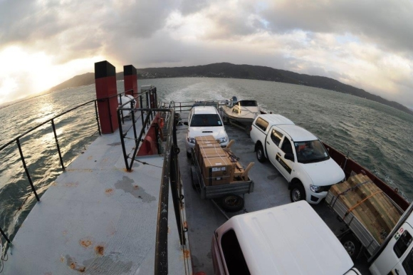 The loaded up barge on the way to Matiu/Somes Island.