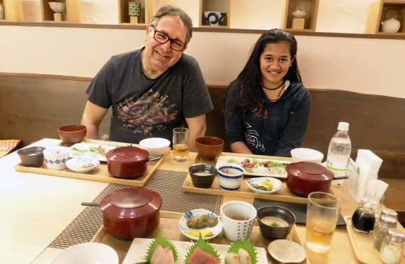 Tomairangi Harvey and The Outlook for Someday Director, David Jacobs, enjoy a meal in Tokyo.