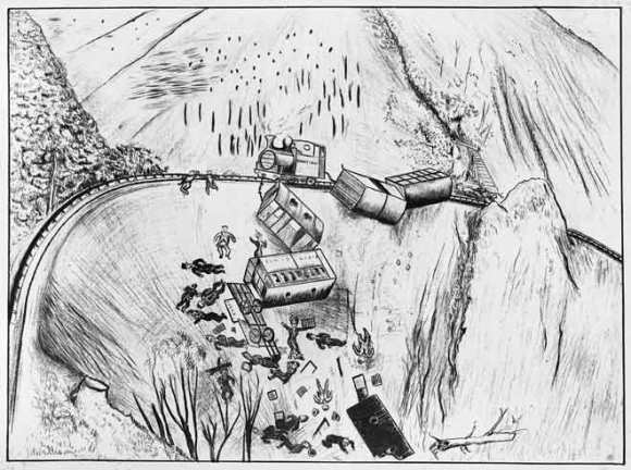 An artist's gruesome impression of the accident.