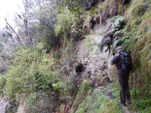 Assessing the track damage in the Whanganui district.