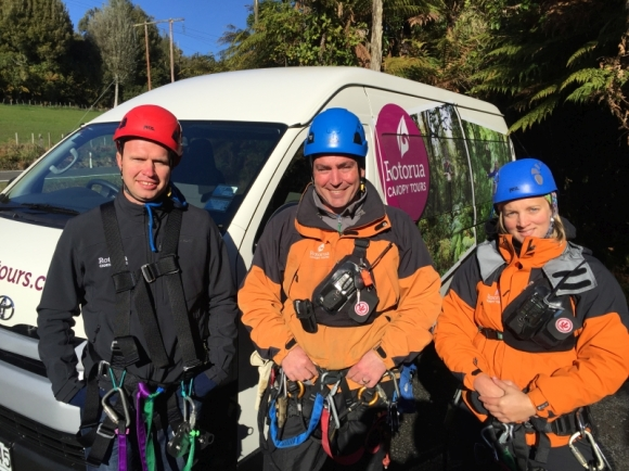 The Rotorua Canopy Tours team – from left Gary Coker, James Fitzgerald (CEO) and Alex Barr.