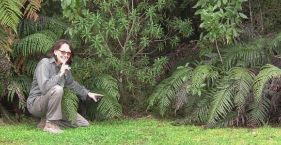 Inger Perkins near a cache.