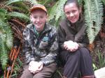 Liam Edhouse and Siena McLean with two kiwi eggs.