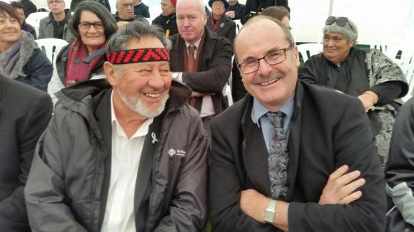 Lou with With Sir Pita Sharples at the Heretaunga signing.