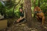 Iain Graham and Rein releasing kiwi chicks on Motuara. Photo: Sabine Bernert ©.