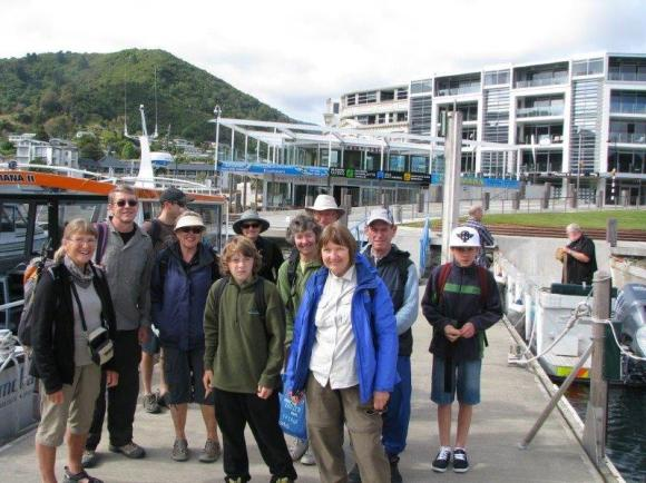 Boarding the boat to Blumine Island, Marlborough.