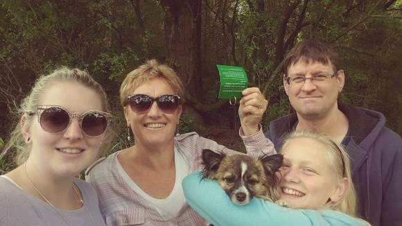 The Clearwater family geocaching near Dunedin.
