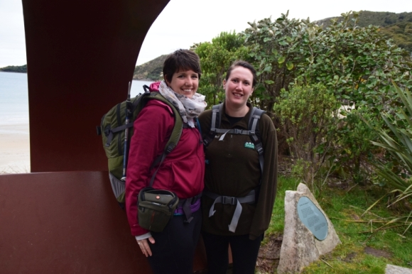 Jennifer and Claire at the chain link sculpture entrance to Rakiura National Park. Photo: Jennifer Ross.
