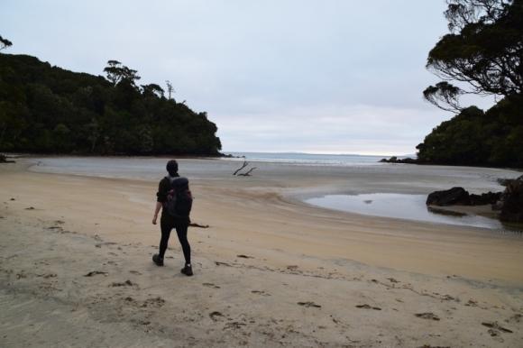 Walking along the beach on the Rakiura Track. Photo: Jennifer Ross.
