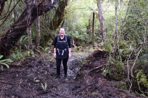 Claire Simpkin on the Rakiura Track. Photo: Jennifer Ross.