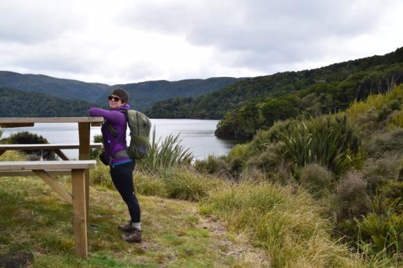 Jennifer Ross taking a rest stop on the Rakiura Track.