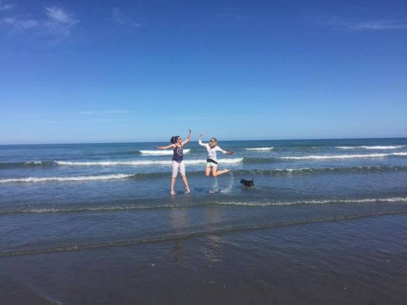 Karlene with her best friend Emmeline at Himatangi beach.