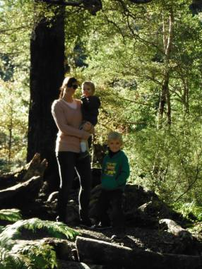 Karlene taking the kids for a bush walk at Kaitoke.